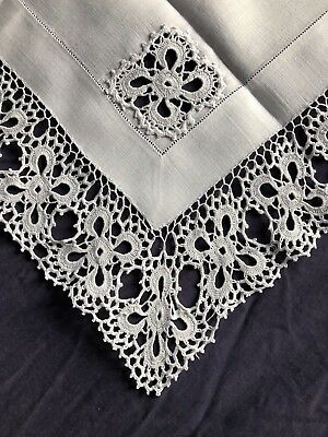 Edwardian Vintage White Linen Butlers Tray Cloth Hand Crocheted Edging & Inserts