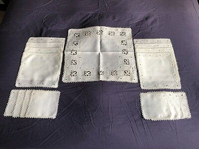 Vintage Italian Linen Lunch Set 17 Embroidered & Reticella Lace Place Table Mats