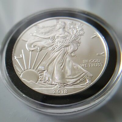 2018 Silver 1 oz American Eagle BU in Deluxe Air-Tite w/ Black Ring - Mint Roll