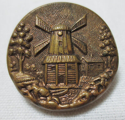 Antique Button-Raised Embossed Brass & Metal Pictorial WINDMILL CABIN & STREAM
