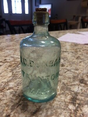"S.O.DUNBAR TAUNTON Mass Ma BOTTLE Rare 5 1/2 "" Beautiful Bubbles"