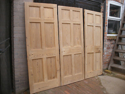 Reclaimed Edwardian 6 panel pitch pine doors. Excellent condition  (set of 7)
