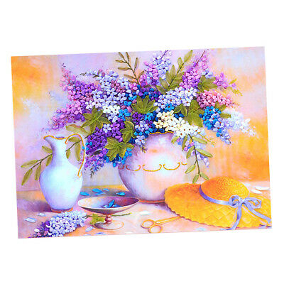 DIY Lilac Bouquet Painting Ribbon Embroidery Kits Wall Decoration No Frame