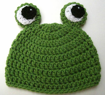 CROCHET BABY FROG HAT child knit infant toddler green beanie photo prop USA