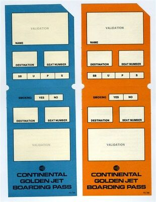 1970's Continental Airlines Golden Jet Blank Boarding Passes & Beverage Orders