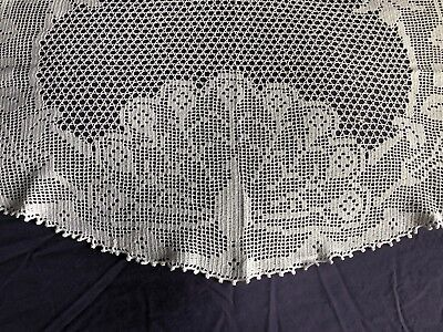 Vintage White Cotton Hand Crocheted Lace Small Oval Table Cloth / Centrepiece