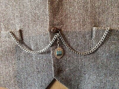 Men's Double Albert Pocket Watch Chain With a Traditional Vintage Watch Fob