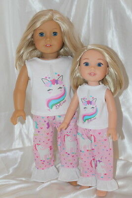 Dress Outfit fits 14in Wellie Wishers 18inch American Girl Doll Clothes Unicorn