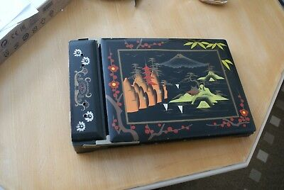 Vintage Oriental Picture/ Photo Album Wooden Lacquer Hand Painted Musical