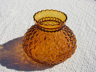 Amber Quilted Glass Lamp Shade 6-1/2 Fitter Ring Ruffled Top Fenton?