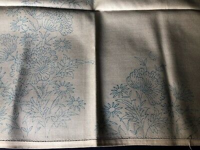 Vintage Cream Cotton & Rayon Floral Transfer Printed Table Cloth For Embroidery