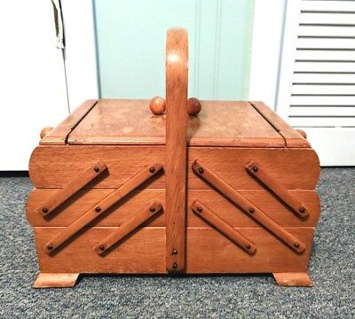 Vintage Wooden Expanding Sewing Box Accordian Style Fold Out