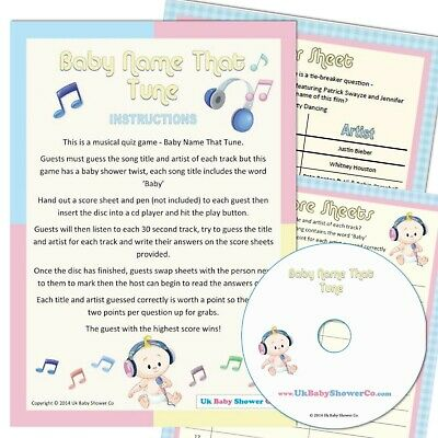 Baby Shower Game - Name the Tune, Unisex Party Boy Girl, Music Quiz Songs CD