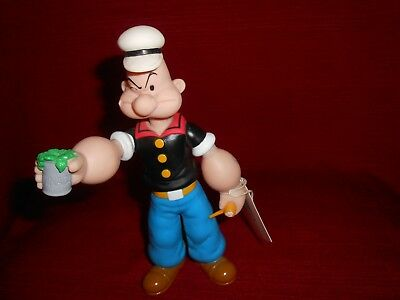 "Vintage Popeye Plastic Figure 1991 W/ Can of Spinach & Pipe 8"" Tall"