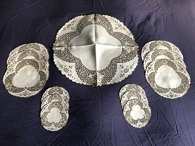 Vintage Linen Luncheon Set Of 13 Madeira Work Hand Embroidered Place Table Mats
