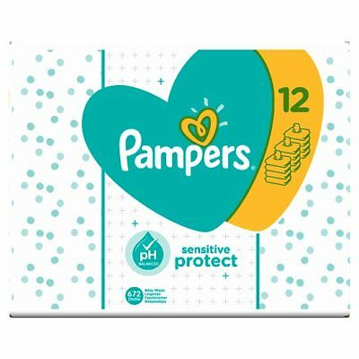Pampers Sensitive Protect Baby Wipes 12 Packs Wet Wipes 56 Wipes per pack