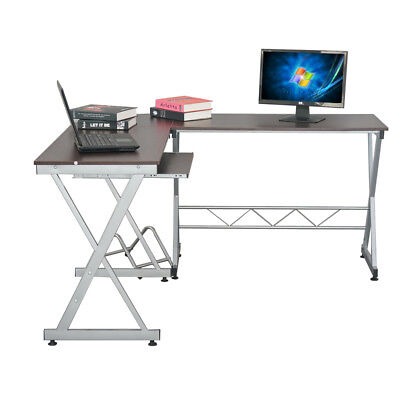 New L Shaped Desk Office Computer PC Glass Corner Desk Wood With Keyboard  Tray