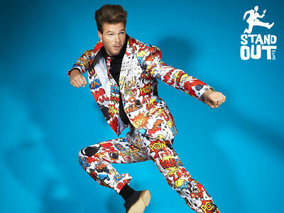 Mens Stand Out Comic Strip Suit, Size L , Ideal Stag do !! VGC Condition