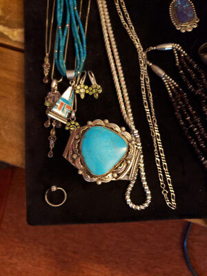 One Of The Largest Tear Drop Turquoise Navajo Silver Bracelet
