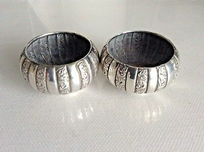 Pair of Antique Sterling Silver Open Salts by London Maker Edward Hutton 1890