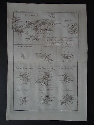1780 Bonne  Atlas map  VIRGIN ISLANDS - Isles Antilles - Caribbean Isles Vierges