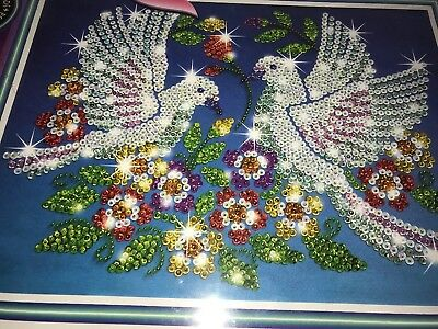 SEQUIN ART TWO DOVES MAKE A LOVELY SPARKLING PICTURE size 34cm X 25cm