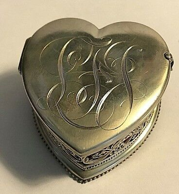Antique Foster & Bailey Sterling Silver Heart Shape Box Pin Cushion Sewing #353
