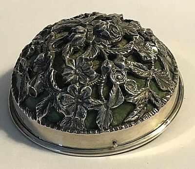 Antique Kirk & Son Sterling Silver  Pin Cushion Pierced Flowers  Sewing #202