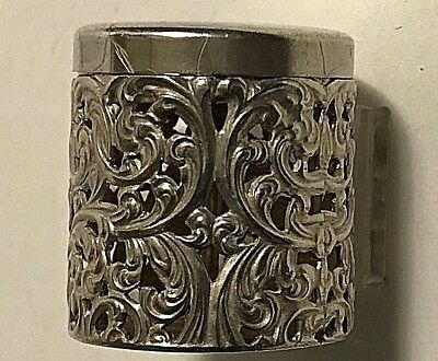 Antique Unger Bros Sterling Silver Pierced Scrolls Thimble Holder #291
