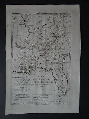 1780 Bonne  Atlas map  FLORIDA  LOUISIANA  Carte de Louisiane la Floride AMERICA