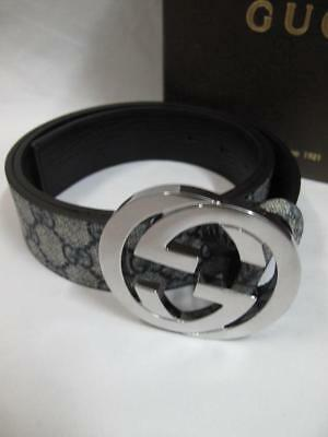 With Box Authentic Unisex's Gucci Stainless Steel Buckle Gray Leather Belt
