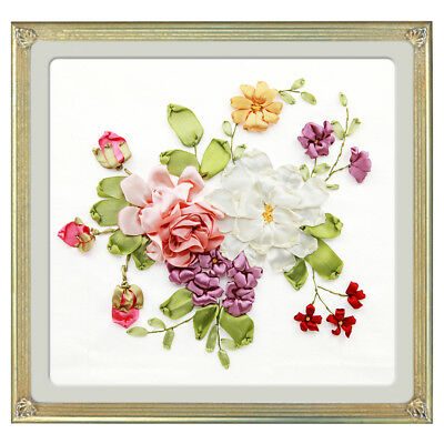 DIY Bouquet Painting Ribbon Embroidery Kits Wall Decoration Stamp No Frame