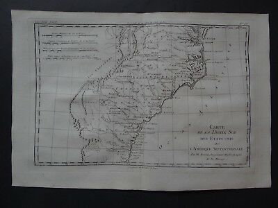 1780 Bonne  Atlas map  CAROLINA - GEORGIA - AMERICA - Etats Unis Amerique