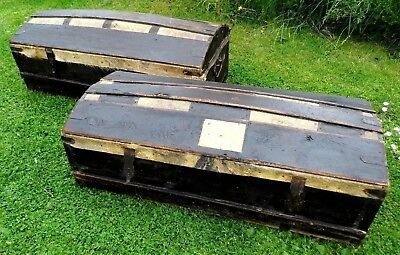 TWO antique NAPOLEON PINE carriage trunks chest box c1800 Georgian 18th century