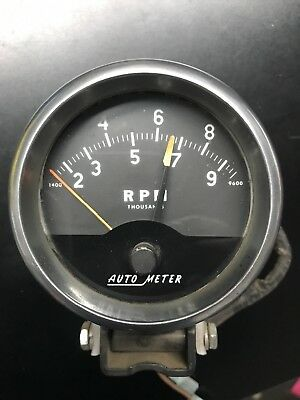 Vintage AutoMeter Tach 9000 RPM with cup and mount works 4 inch NHRA Hot Rod