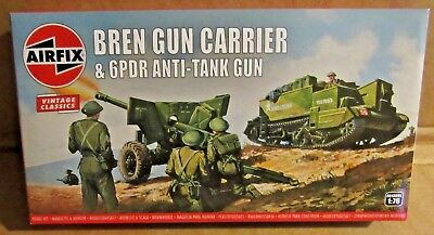 Airfix Bren Carrier & 6Pdr Anti-Tank Gun 1:76 Scale Model Kit Ww2 British 4 Crew