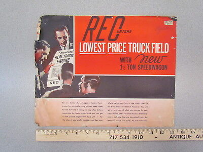 Vintage 1935 Reo Speedwagon 1 1/2 ton truck dealer brochure / sales literature