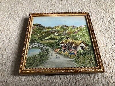 Exquisite Vintage Finely Hand Embroidered Silk Miniature Framed Picture c.1920