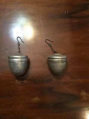 Pair Of Vintage Alunimun Tea Infusers Antique Kitchen