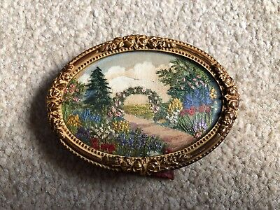 Stunning Vintage Finely Hand Embroidered Silk Miniature Framed Picture c.1920
