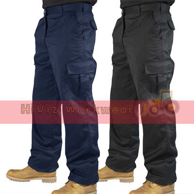 Mens Combat Cargo Work Trousers Black or Navy Size 28 to 52 Short Reg Tall Leg