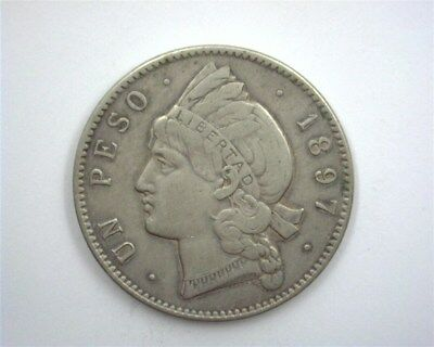 Dominican Republic 1897 Silver Peso  Choice Extremely Fine Km#16