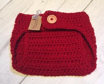 Handmade Crocheted Baby Adjustable Waist Nappy Cover 0-3 Months. Red