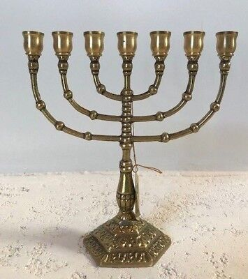Traditional Solid Brass 7 Arm Menorah /Candle Holder Medium W/Large Cups Size: 8