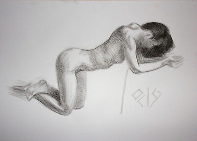 Original Female Charcoal on paper life Drawing nude Girl woman artwork realism