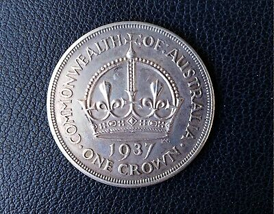 1937 CROWN - Australia - 92.5% Silver - Deceased Estate - Nice Large Silver Coin