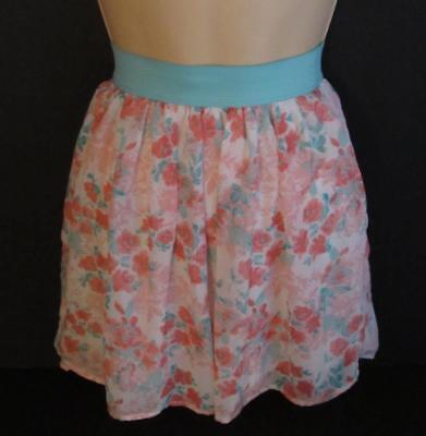 PINKY Creme - Melon and Aqua Floral Print Pleated Skirt Girls Size 12