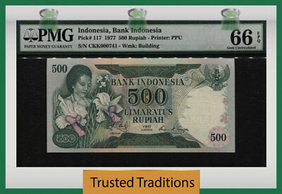 "Tt Pk 117 1977 Indonesia Bank Indonesia 500 Rupiah ""low S/n 741"" Pmg 66 Epq Gem!"