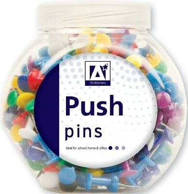 100 x PUSH PIN ASSORTED PACK MULTI-COLOURED PUSH DRAWING PINS NOTICE CORK IN POT
