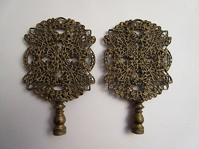 Pair of Large Antique Brass Filigree Lamp Finial Finials Hollywood Regency Era